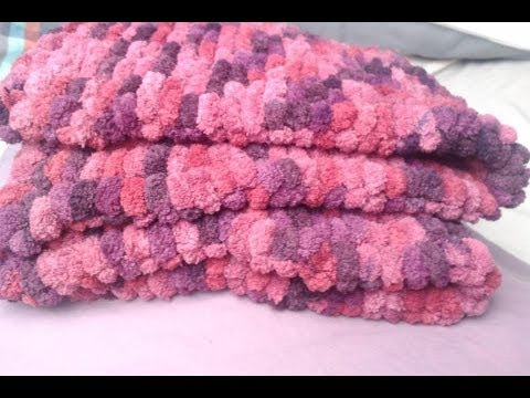 knitted baby blanket pompon Fresh off tha Hook with Haylee from Haylees hats...
