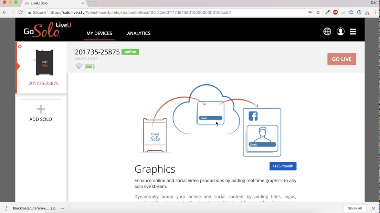 LiveU Solo Cloud Graphics How-To #1: Start your free trial on the Solo  portal