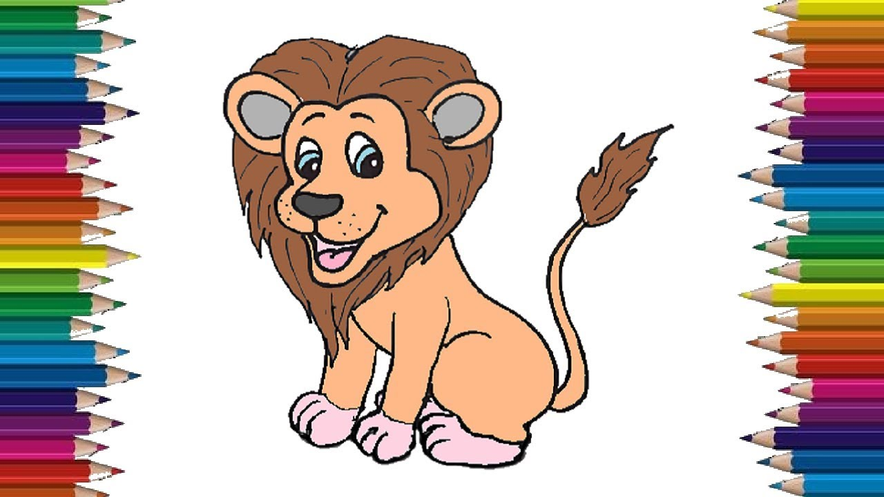 How to draw a lion cute and easy step by step for kids ...