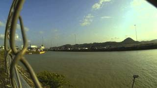 Cargo ships in the locks of the Panama Canal - Timelapse