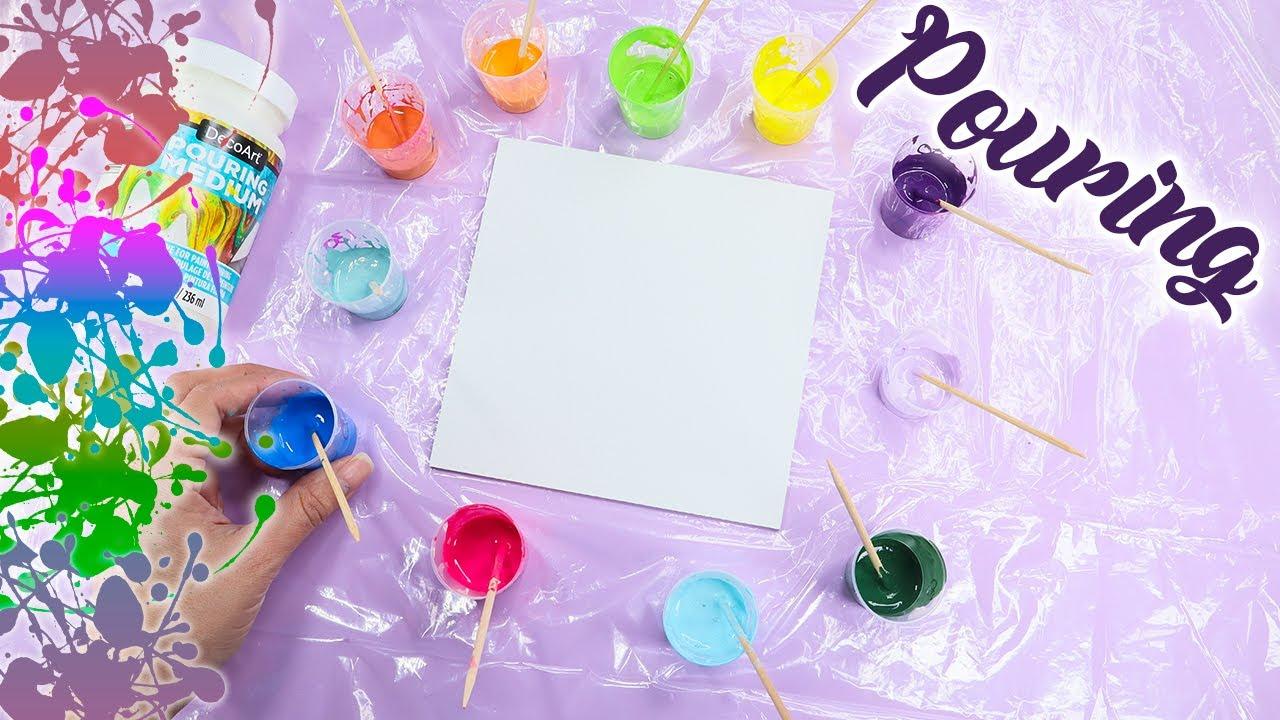 Como hacer Pouring Arte fluido PASO A PASO - 3 Ideas fáciles para principiantes