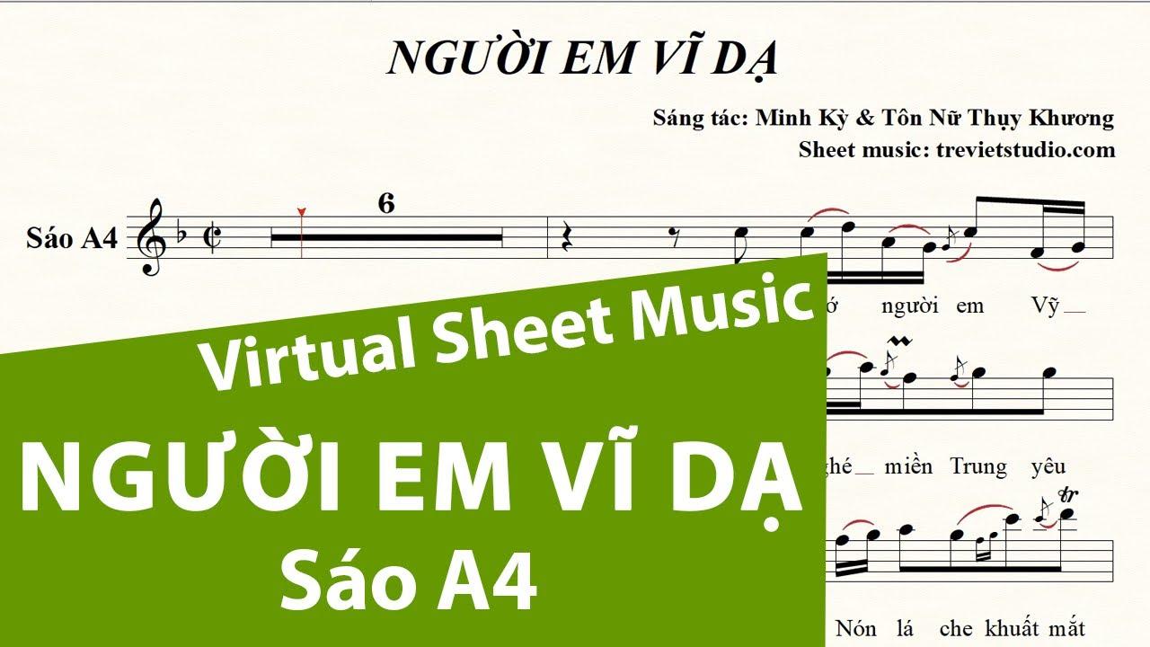 NGƯỜI EM VĨ DẠ ★ Sheet nhạc Beat Lyrics | Sáo trúc A4 | Virtual Sheet Music #trevietstudio Quang Lê