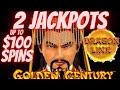 🤩 $100 SPIN BONUS - 2 JACKPOTS ON GOLDEN CENTURY DRAGON CASH SLOT MACHINE LIVE PLAY IN LAS VEGAS
