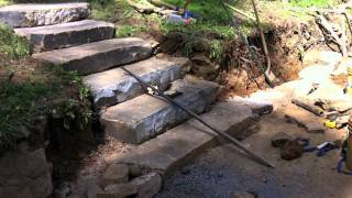 Drystone Retaining Wall with Country Fieldstone Steps
