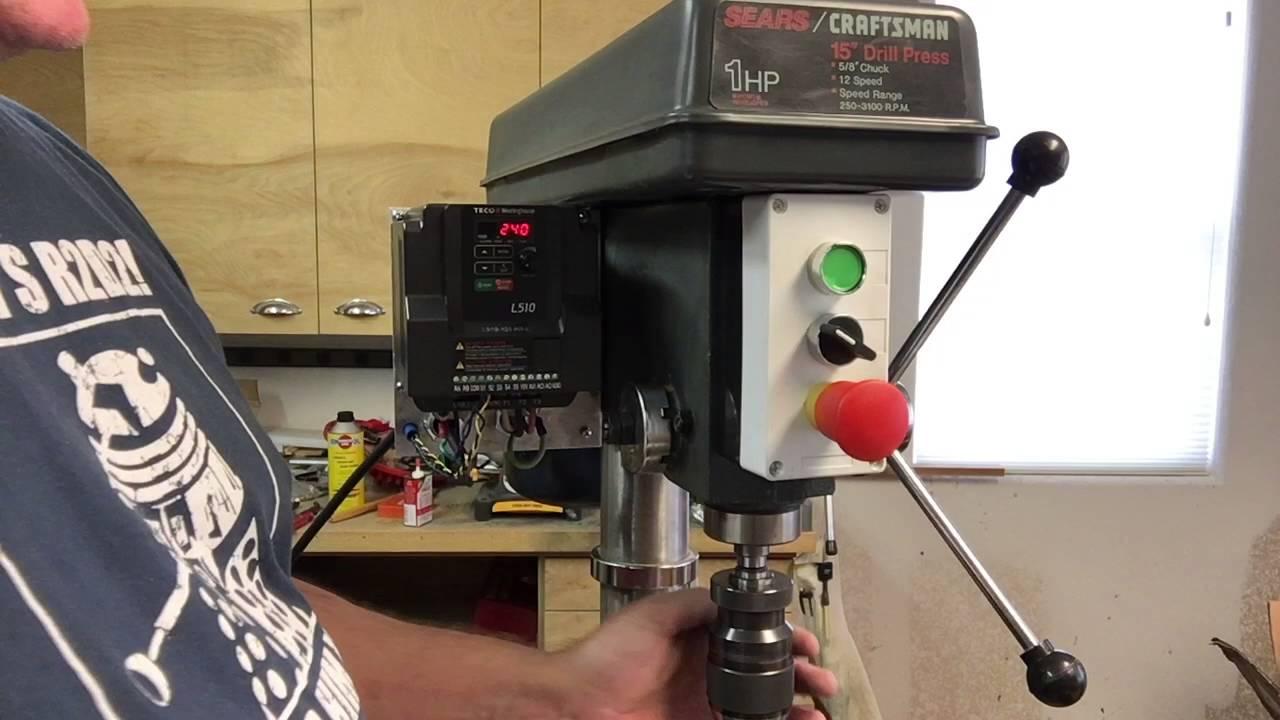 Single Phase 220v Wiring Diagram Teco L510 Vfd For Sears Drill Press Youtube