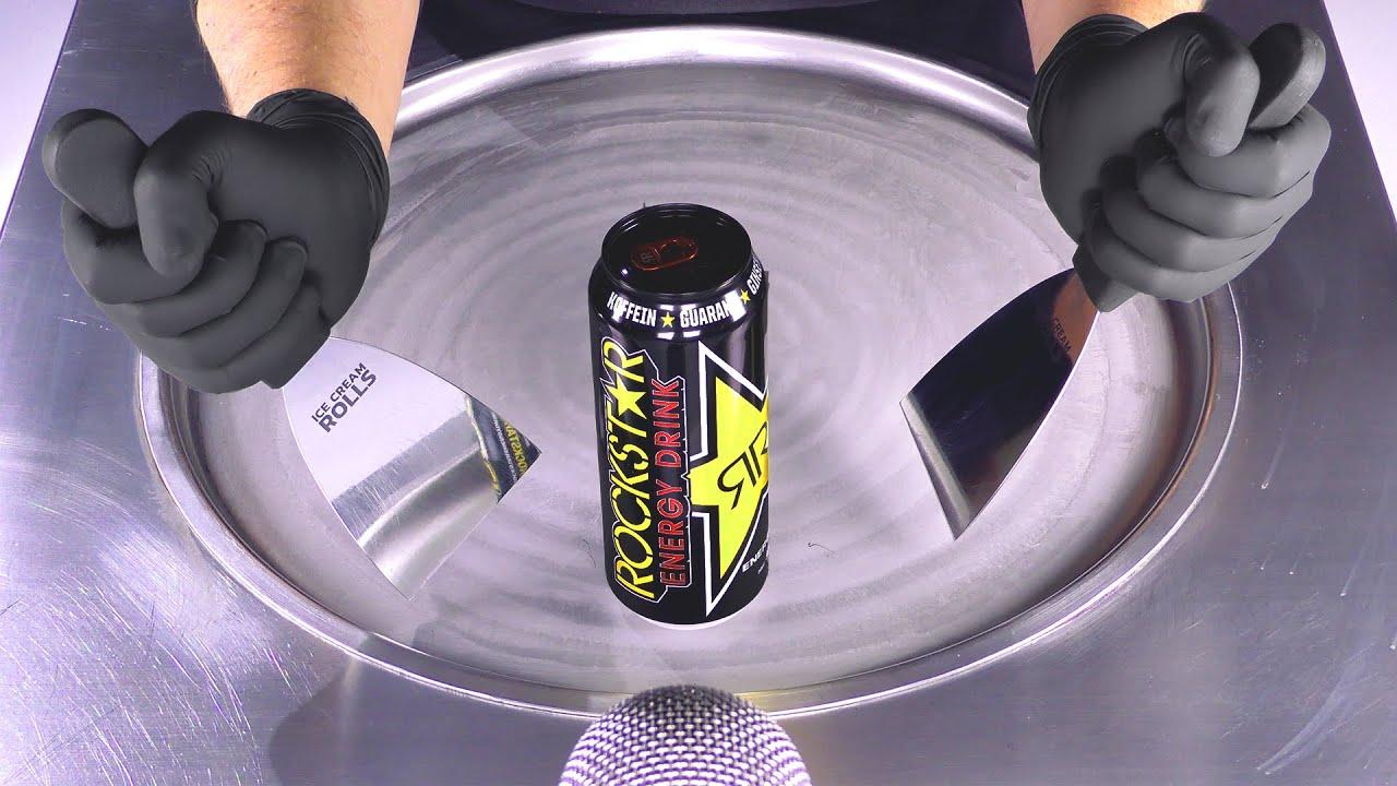 ASMR — Роллы с мороженым энергетический напиток Rockstar |  как приготовить энергетические напитки из жареного мороженого