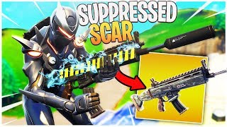The New Suppressed Scar is INSANE! - PS4 Pro Fortnite NEW GUN Gameplay! (Silenced Scar Gameplay)