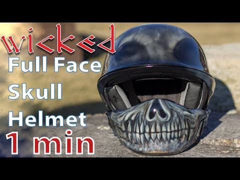 Wicked Skull motorcycle helmet |  Custom Painted Bell Rogue Half Helmet