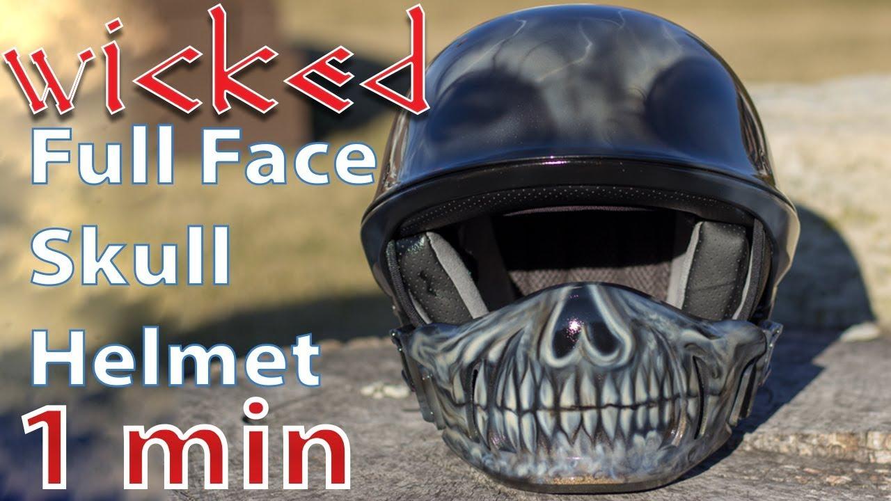 Wicked Skull Motorcycle Helmet Custom Painted Bell Rogue Half