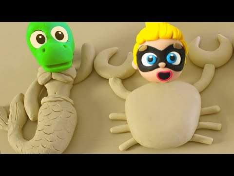 Stop Motion Baby Superhero Hombre Araña Sand Play Doh Cartoons Animation videos