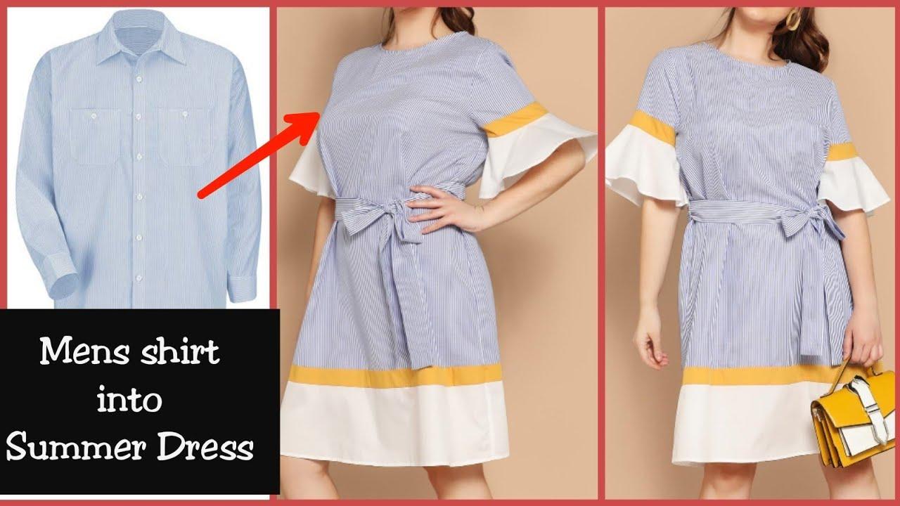 c0af130902f66 DIY   Convert Men s Shirt into Shirt Dress Reuse Men s Shirt - YouTube