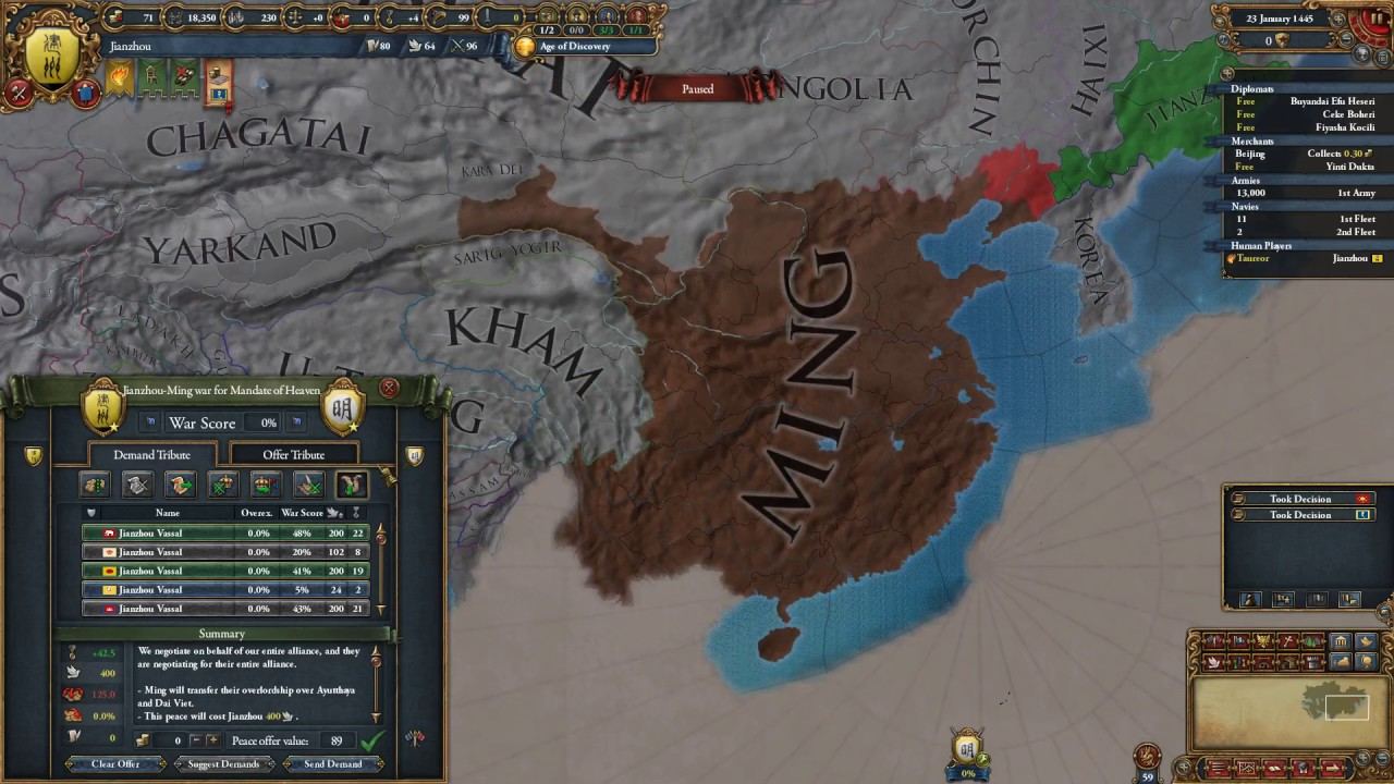 EU4 exploit - turn tributaries into vassals