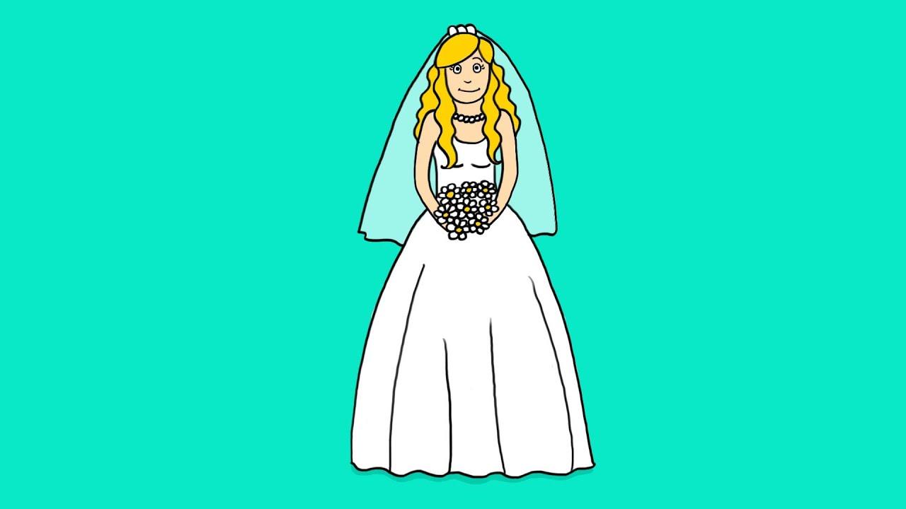 Apprendre à dessiner une mariée - How to draw a bride - YouTube