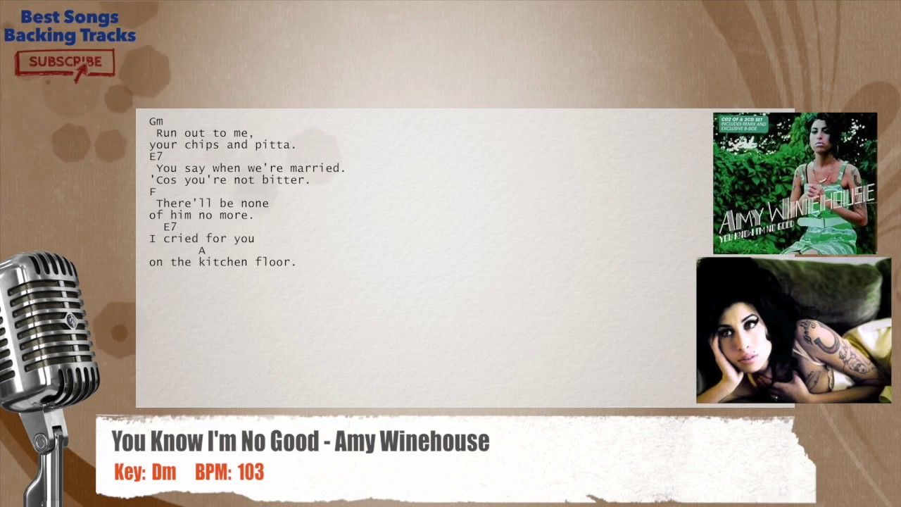 🎙 You Know I'm No Good   Amy Winehouse Vocal Backing Track with chords and  lyrics