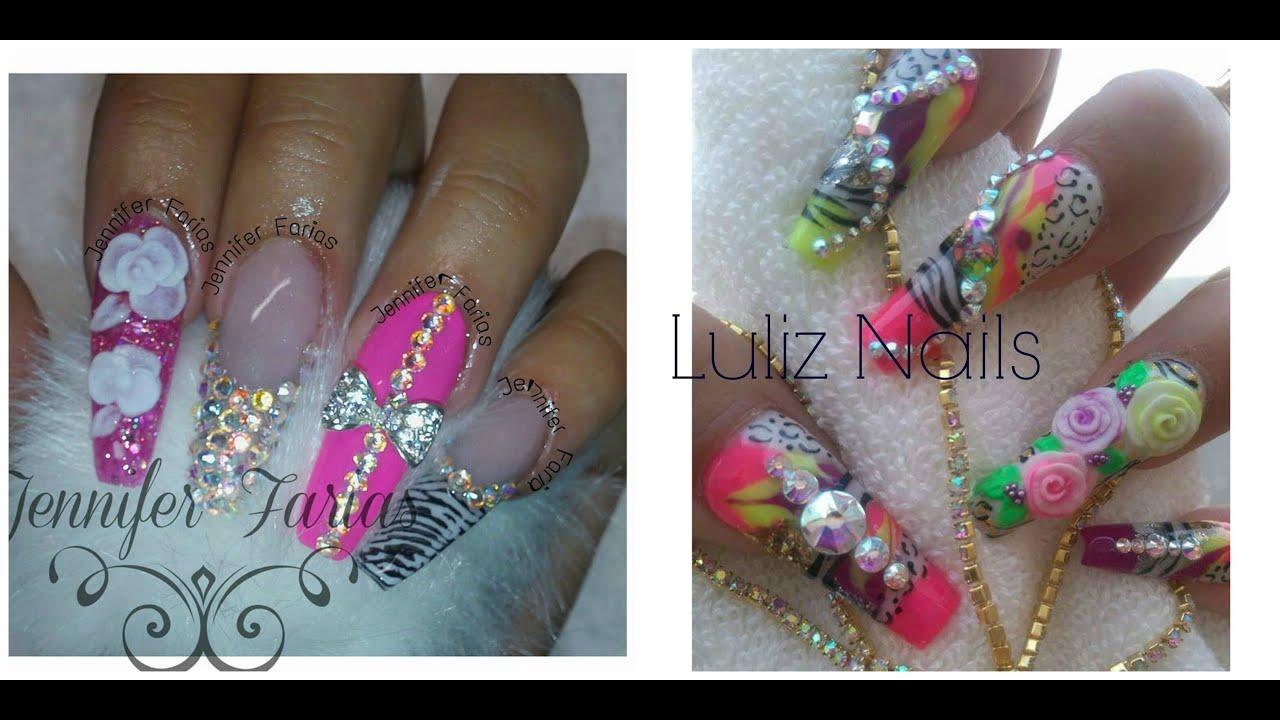 uas acrilicas rosas estilo sinaloa d y punta moderna en con luliz nails