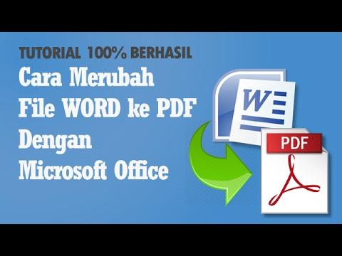 Cara Merubah File Word Ke Pdf Dengan Microsoft Office Youtube