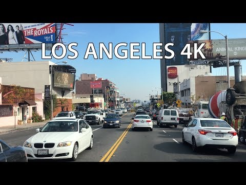 Driving Downtown - LA's Sunset Strip 4K - Los Angeles USA