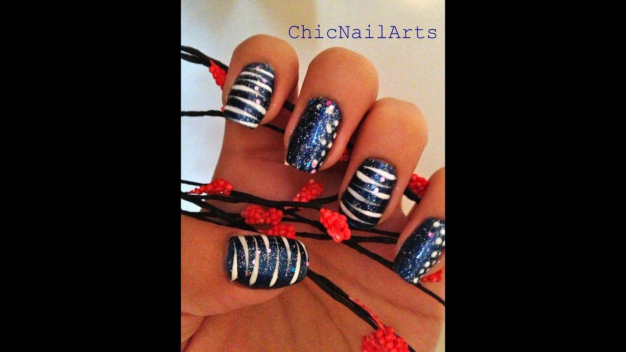 Blue Tiger Stripes Nail Design Tutorial Youtube