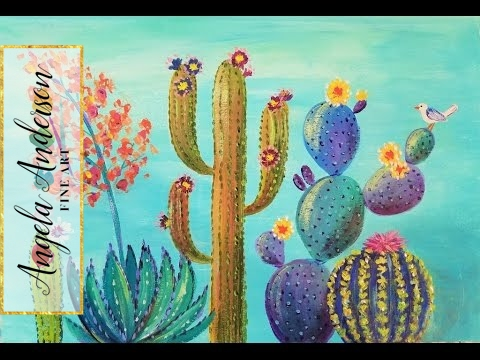 Southwest Colorful Cactus Acrylic Painting Tutorial | Live Full Length Demo