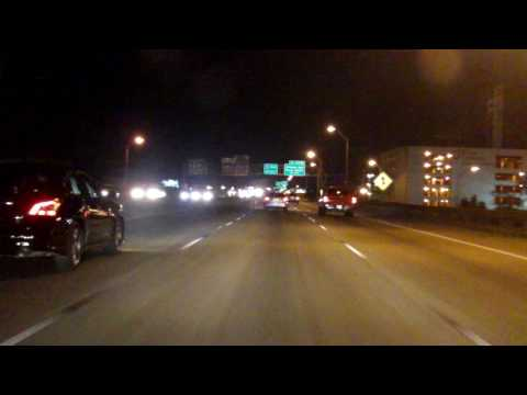 Pontchartrain and Claiborne Expressways (Interstate 10 Exits 230 to 238) eastbound (Night)