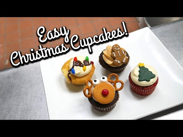 4 Fun Christmas Cupcake Designs for Kids and beginners!
