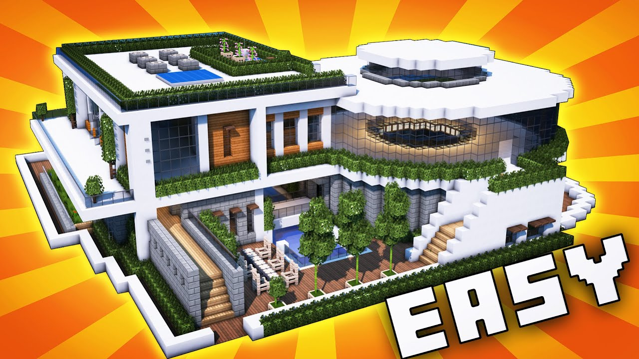 Minecraft Big Modern House Mansion Tutorial How To Make Realistic Modern House 2020 Youtube