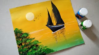 Sailboat sunset seascape acrylic painting| Simple acrylic sunset painting tutorial for beginners..
