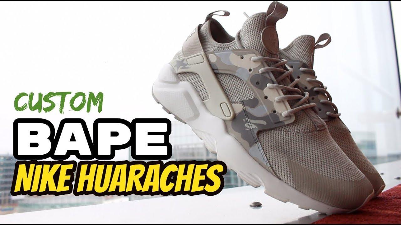 Custom Nike Bape Huaraches - YouTube 5419584f5