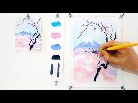 Уроки акварели. Цветущая вишня.
