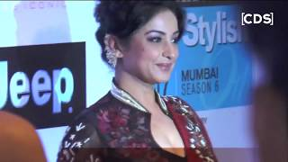 Divya dutta blouse is very low cut at ht most stylish awards 2017