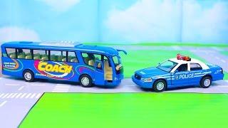 Мультик про машинки - 187 серия:  Полицейская машина, Туристический автобус, Эвакуатор, кабриолет