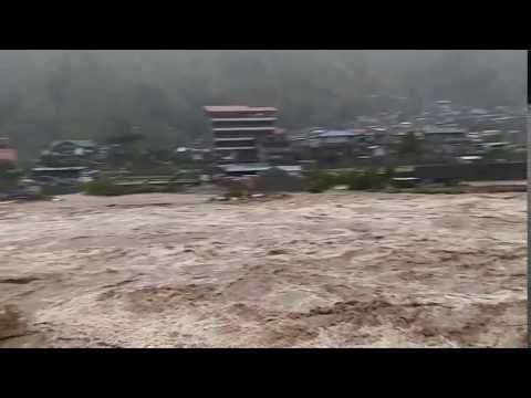 River in Calutit, Bontoc, Mountain, Philippines during Typhoon Lawin/ Typhoon Haima