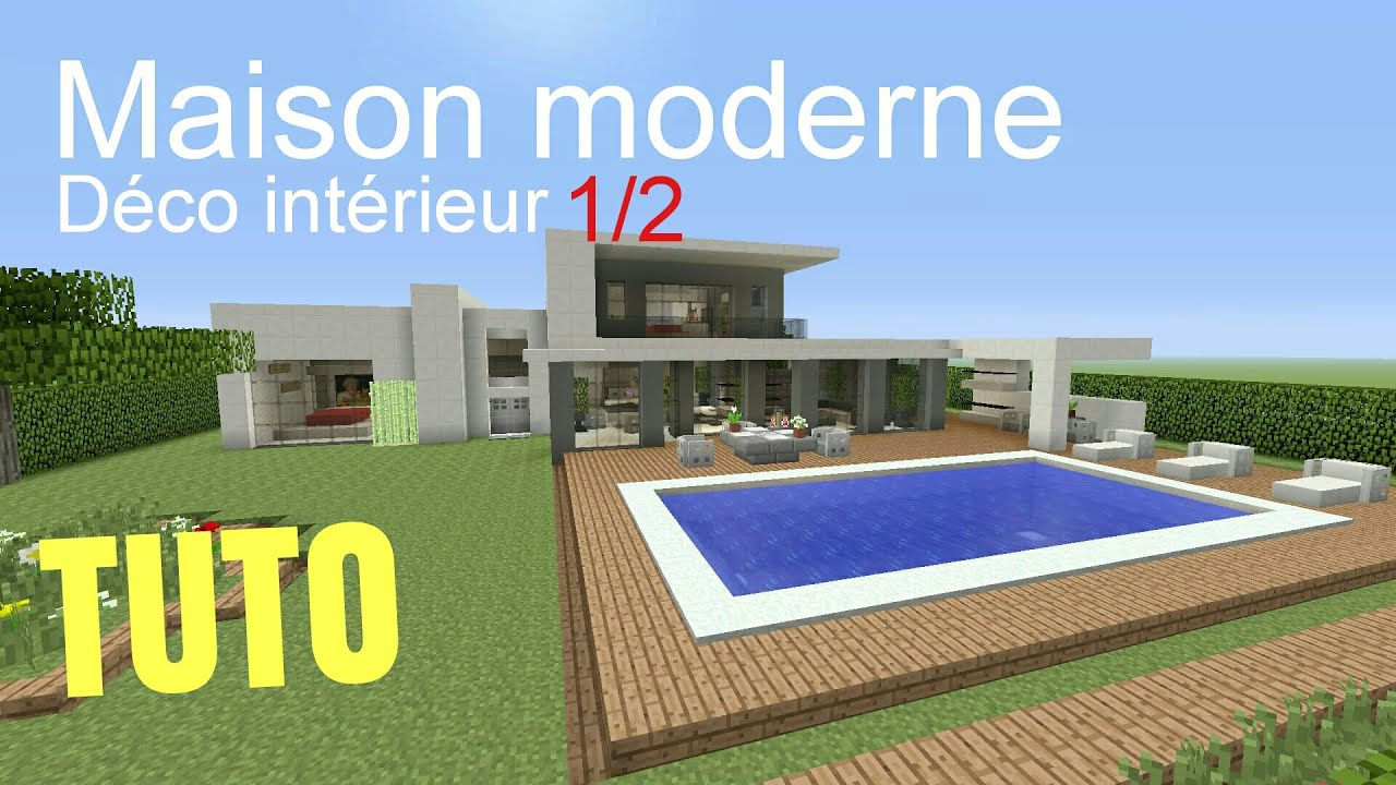 Tuto minecraft maison moderne d co int rieur 1 2 ps4 ps3 for Decoration maison moderne youtube