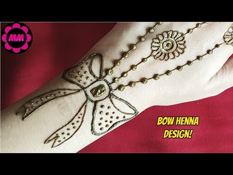 Bow Henna Design - Simple Beautiful Ribbon And Flowers Mehendi - Jewellery Inspired Mehndi Design