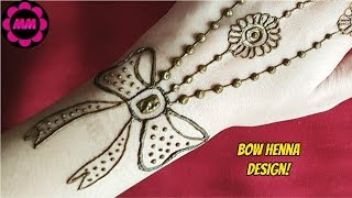 Bow Henna Design - Simple Beautiful Ribbon and Flowers Mehendi - Jewellery inspired mehndi design