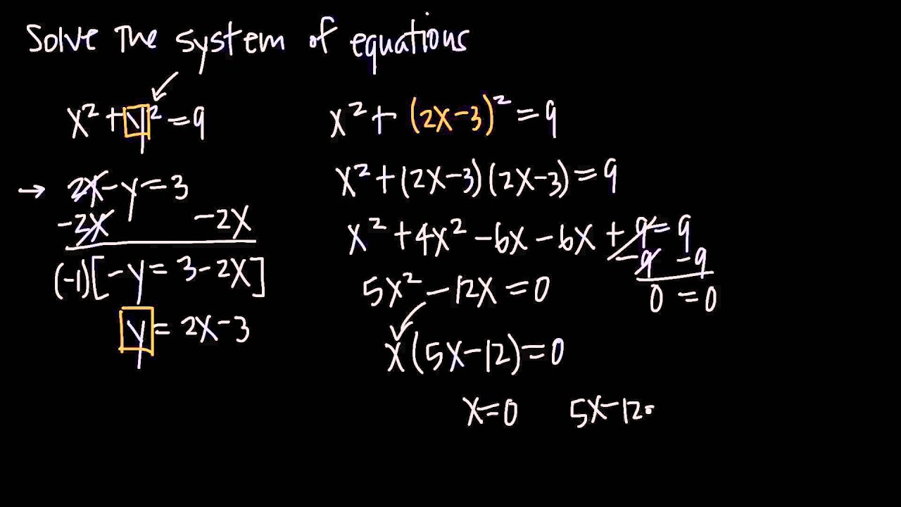 System Of Two Equations With A Quadratic Equation