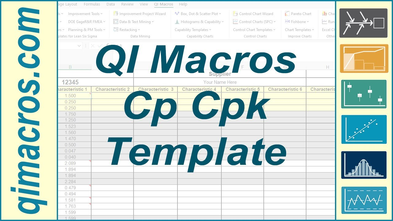 Cp cpk template in excel to perform process capability for Capabilities analysis template
