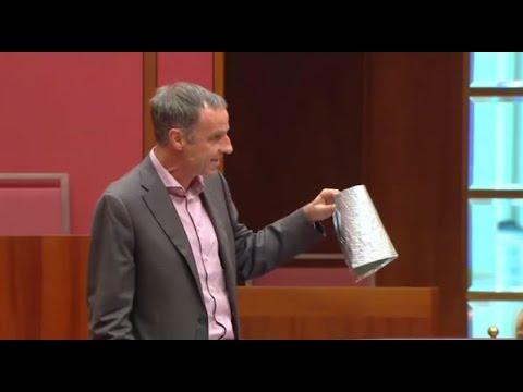 Senator Nick McKim finds Senator Malcolm Roberts' tin foil hat