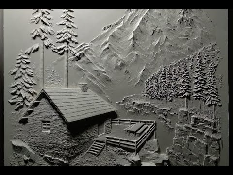 Барельеф домик в горах. Bas-relief House In The Mountains