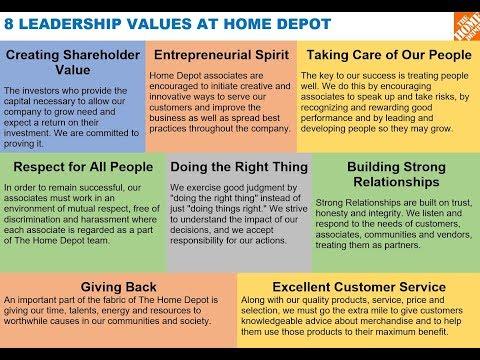 8 LEADERSHIP VALUES AT HOME DEPOT via Frank Blake