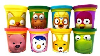 8 Pororo the Little Penguin Characters Surprise Toys and Play-Doh Can Heads Learn Colors