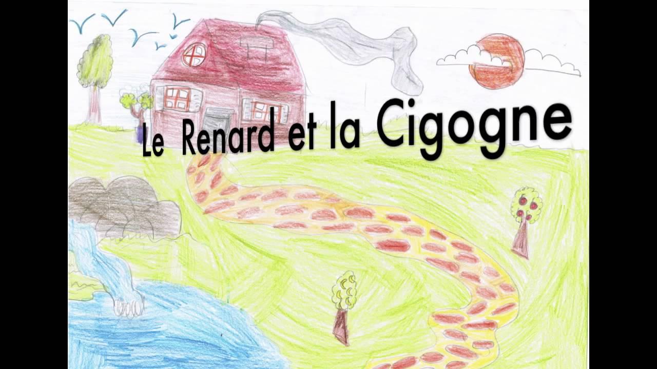 Ce2 le renard et la cigogne youtube - Cigogne dessin ...