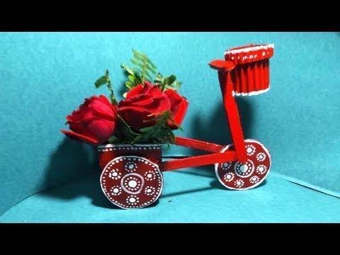 Love flower bicycle from cardboard   diy mini bicycle with flower basket from cardboard & newspaper