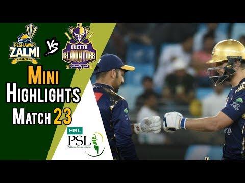 Short Highlights | Quetta Gladiators Vs Peshawar Zalmi  | Match 23 | 10 March | HBL PSL 2018