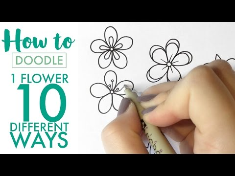 HOW TO DOODLE: 1 flower, 10 different ways - EASY (real time/no