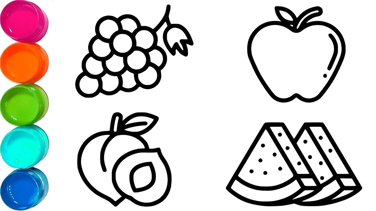 Cute Fruits The Birthday Cake Simple Coloring Pages For Kids