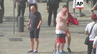 Fans clash ahead of England-Russia match