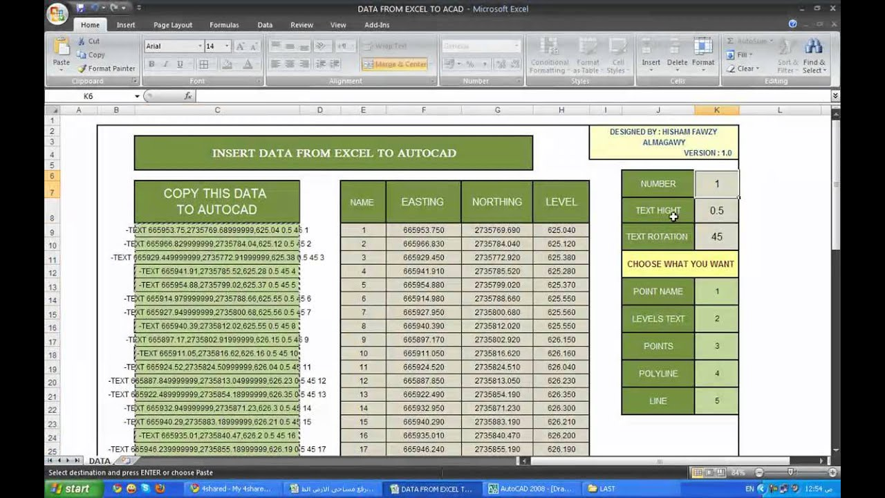 Drawing Lines Excel Spreadsheet : Data from excel to autocad mp youtube