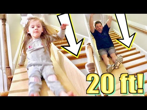 20 ft DIY Stair Slide IN OUR HOUSE!