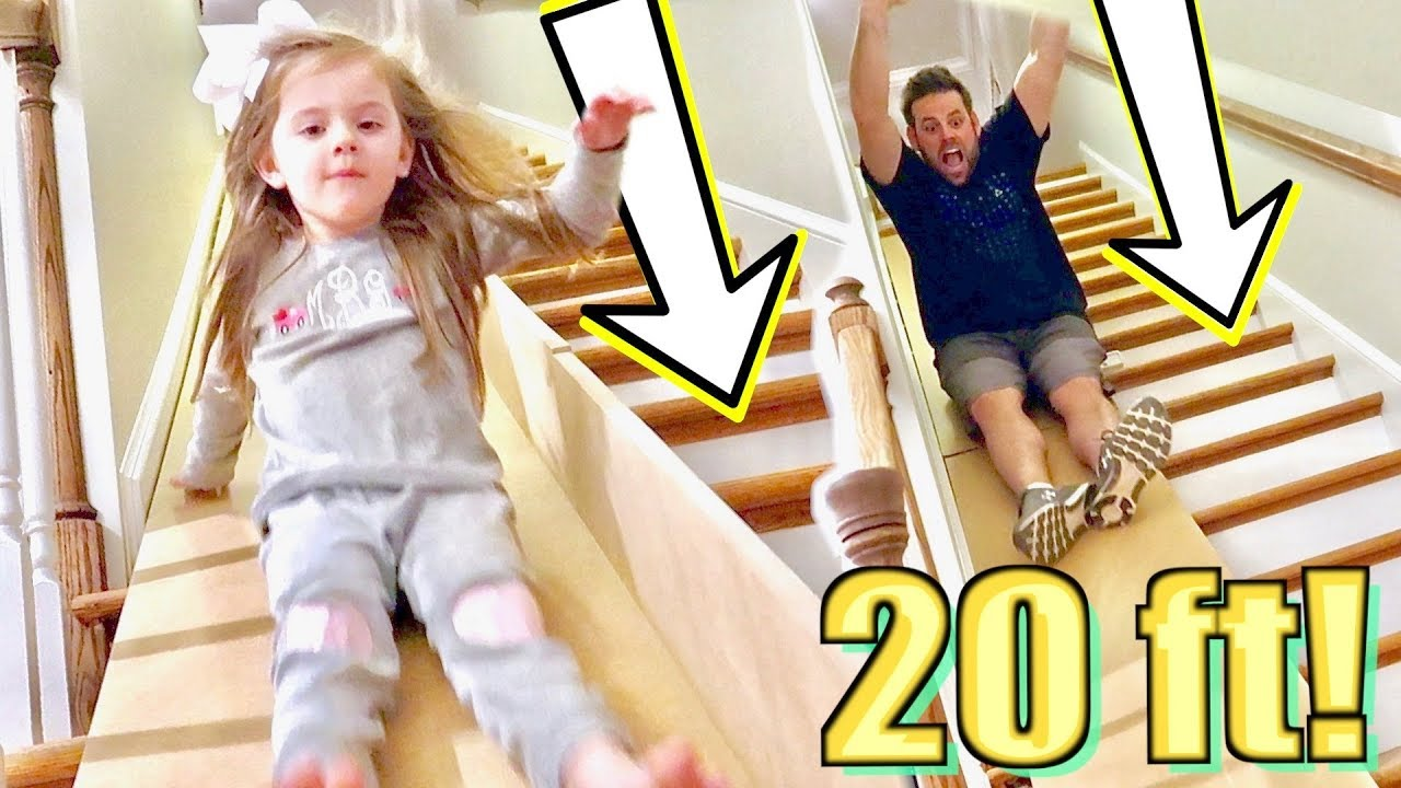 20 Ft Diy Stair Slide In Our House Youtube